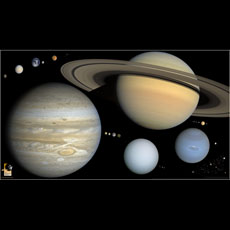 Every round object in the solar system, to scale (widescreen)