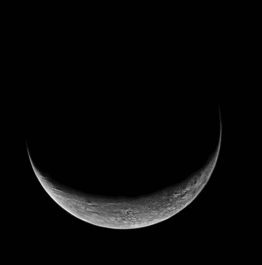 Triton's crescent in color (high-pass filtered)
