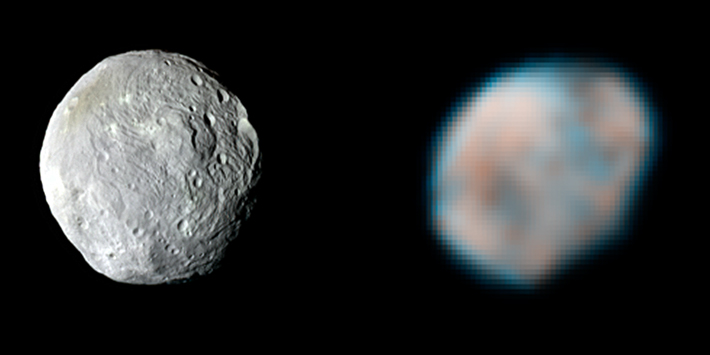 Vesta, as seen by Dawn and Hubble