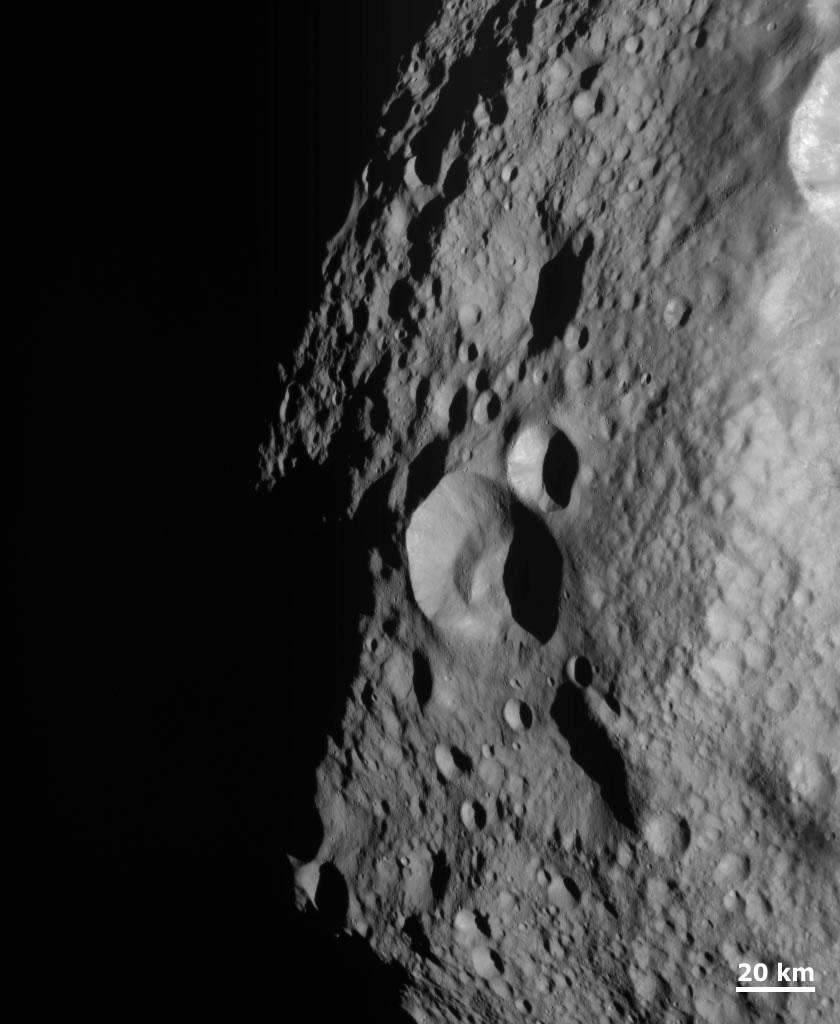 Cratered terrain on Vesta