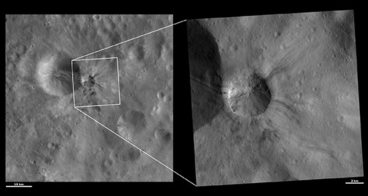 Aelia crater, Vesta, in medium and high resolution