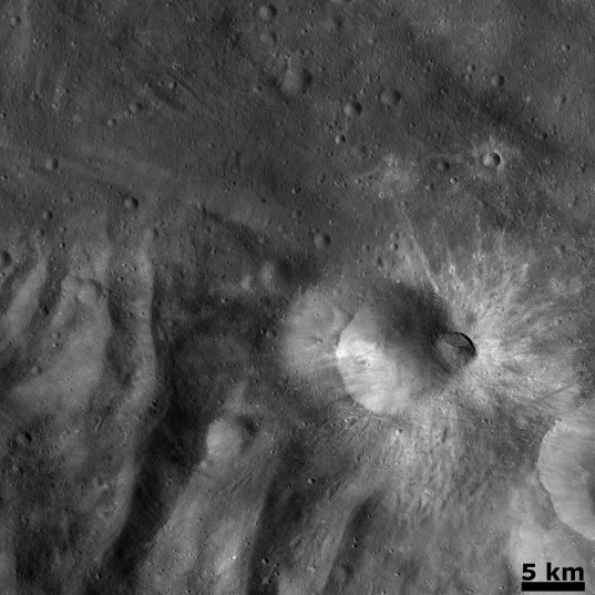 Fresh crater on the rim of Tuccia