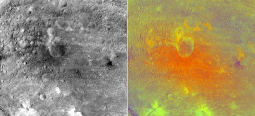 Numisia crater, Vesta, in black and white and false color
