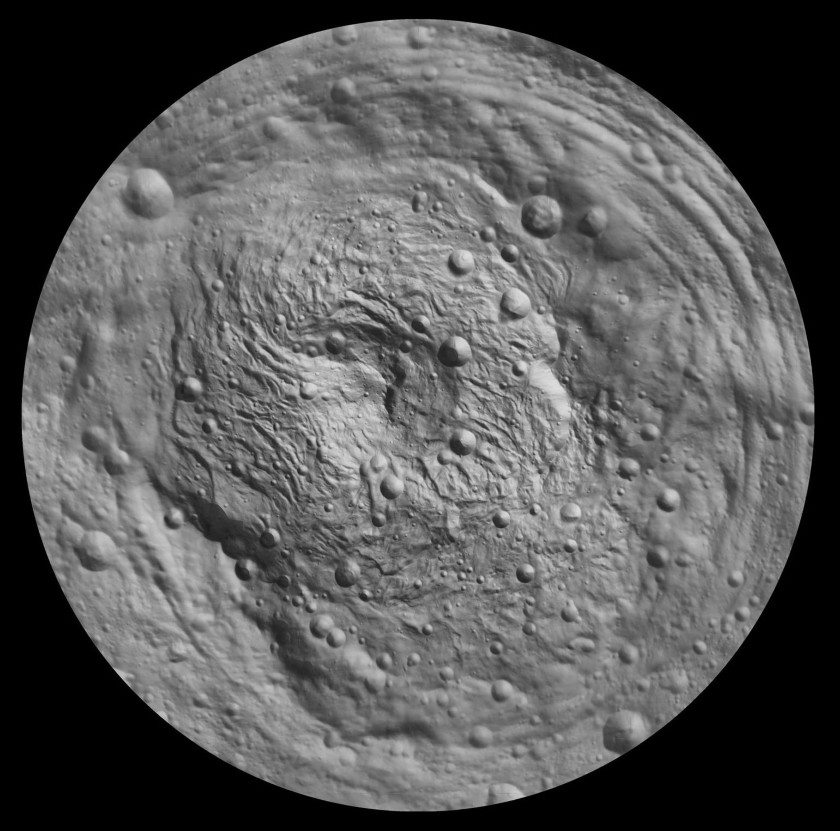 Shaded relief map of Vesta's south pole