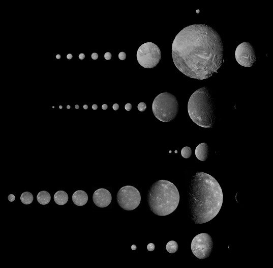 Voyager 2's images of Uranian moons