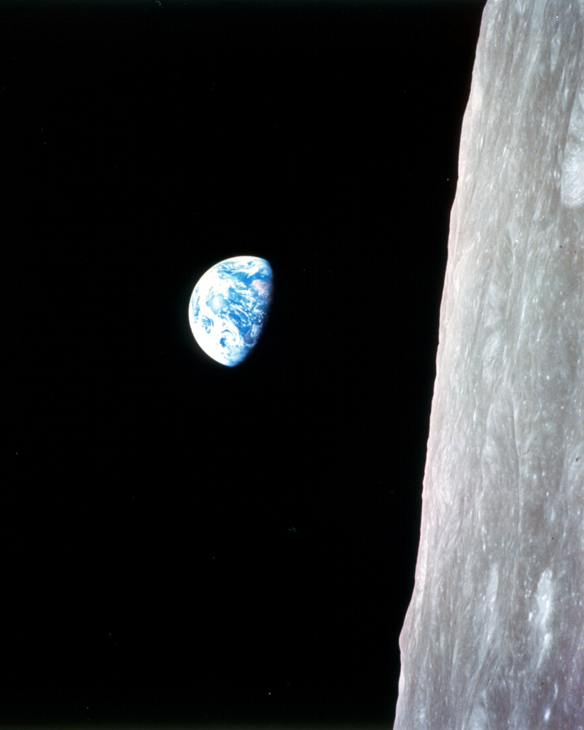 Apollo 8 looking at the Earth from the Moon