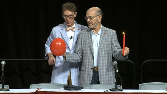 Bill Nye The Science Guy and Robert Picardo Demonstrate Science