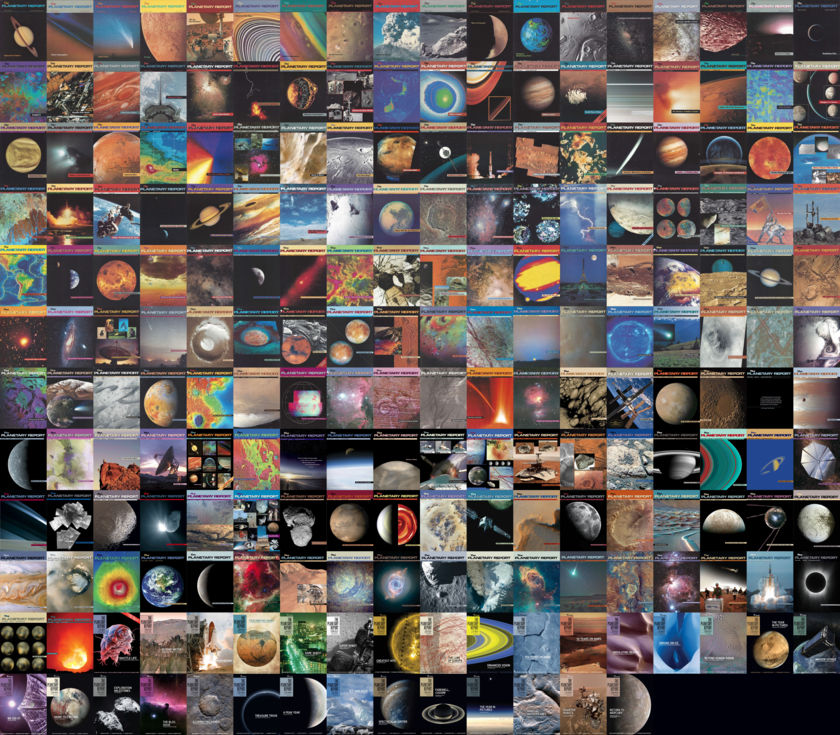 All the covers of The Planetary Report, 1980-2018