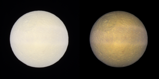 Tethys in false color and enhanced color