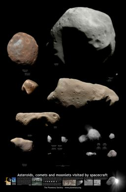 Asteroids, comets, and moonlets visited by spacecraft