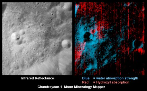 Water and hydroxyl in fresh lunar crater ejecta