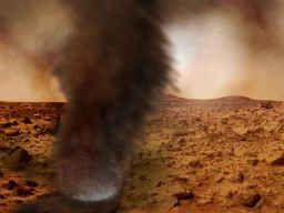 A Martian dust devil imagined