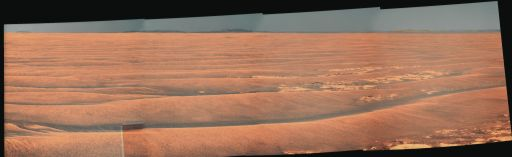 Opportunity's drive direction panorama, sol 2300 (July 13, 2010)