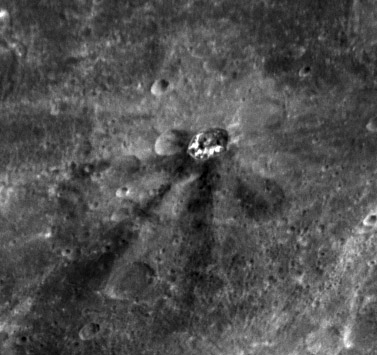 Dark-rayed crater on Mercury (detail)