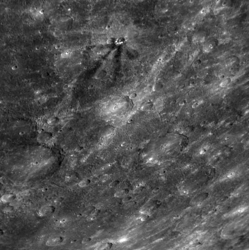 Dark-rayed crater on Mercury