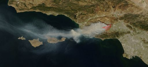 View of the Topanga fire, southern California, from the MODIS satellite