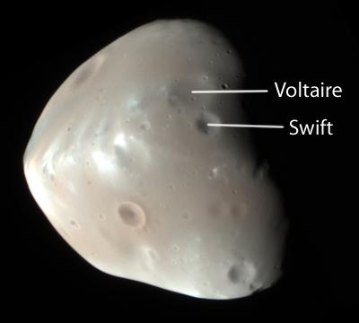 HiRISE image of Deimos (labeled)