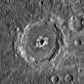 High-albedo central peak crater on Mercury