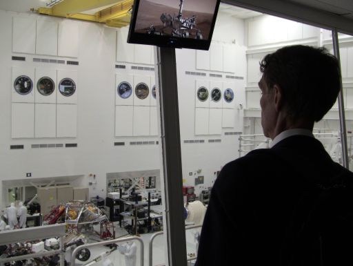 Bill Nye Overlooking the Curiosity Rover