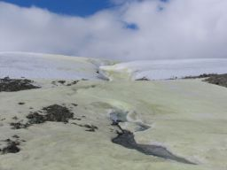 Sulfur-stained snow and ice, Borup Fiord Pass