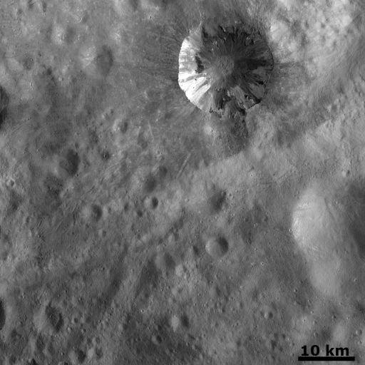 Fresh crater on Vesta