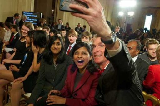 Bill Nye and Shree Bose at the 2012 White House Science Fair