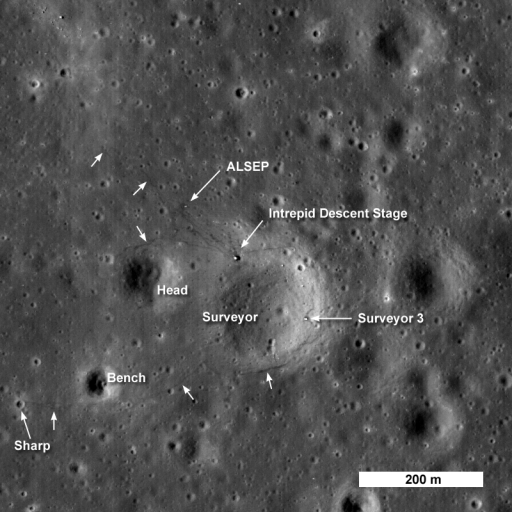 Apollo 12 and Surveyor 3 from Lunar Reconnaissance Orbiter