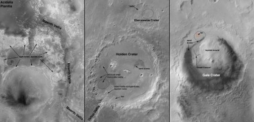 Curiosity's 4 Candidate Landing Sites