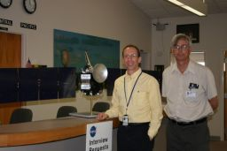 Marc Rayman and Ken Kremer with a model of the Dawn spacecr