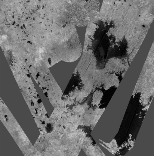 Cassini RADAR view of Titan's north pole, October 2007