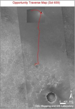 Opportunity traverse map Sols 1-659