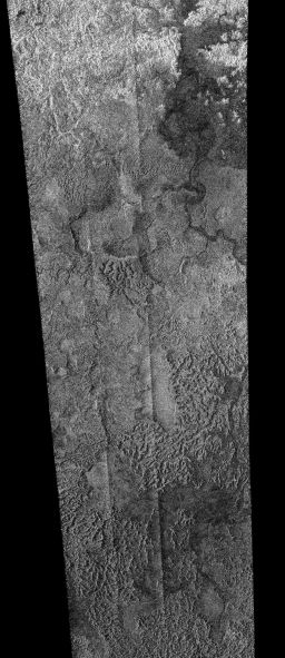 Dry rivers and lakebeds near Titan's south pole