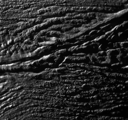 Highest-resolution mosaic from Cassini's October 31, 2008 flyby of Enceladus