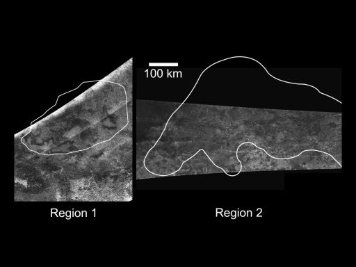 Radar images of areas on Titan observed to change in VIMS images