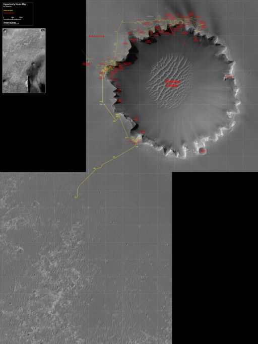 Opportunity route map to sol 1,691