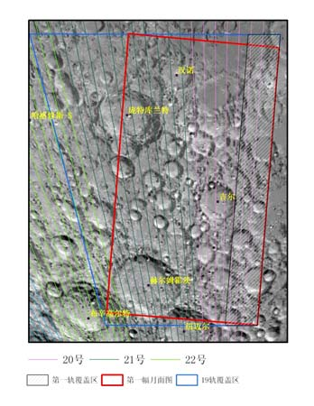 Ground tracks of the image strips in the first Chang'e 1 image