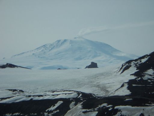 Awesome view of a smoking Mount Erebus