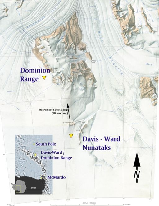 USGS topographic mosaic of Dominion Range region