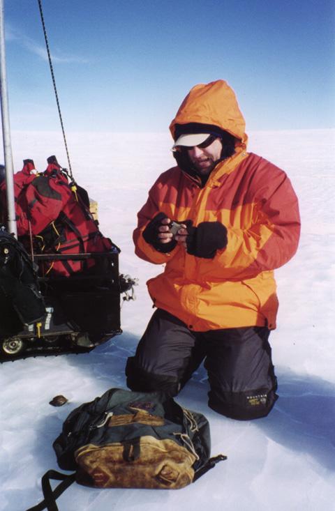 Ralph Harvey collecting a meteorite