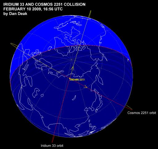 On-orbit spacecraft collision