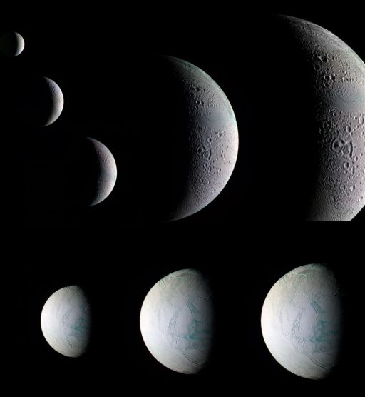 The March 12, 2008 flyby of Enceladus, in color