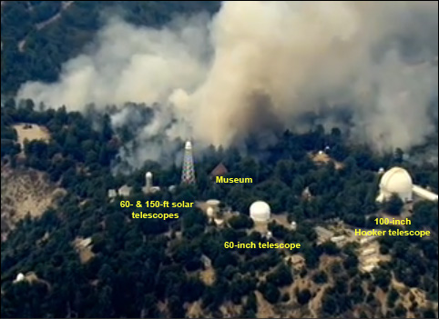 Backfires burning the north flank of Mount Wilson Observatory