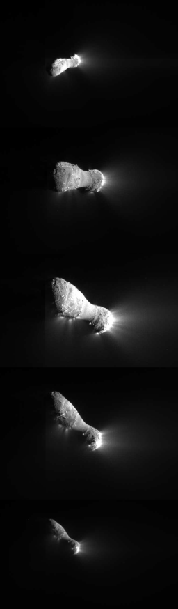 Five close-approach images of Hartley 2 by Deep Impact