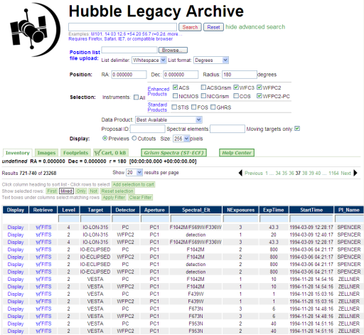 Hubble Legacy Archive data browser