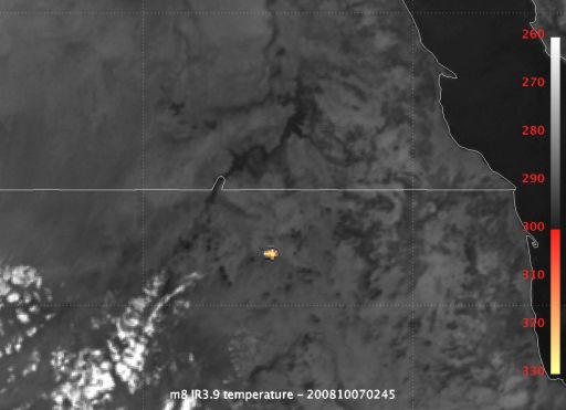 METEOSAT-8 catches the 2008 TC3 fireball
