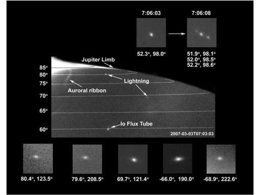 Lightning near Jupiter's north pole