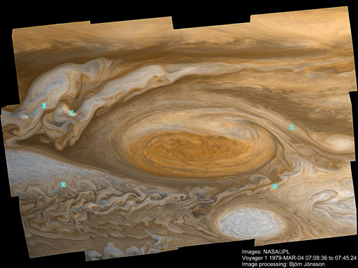 Voyager mosaic of the Great Red Spot of Jupiter (labeled)