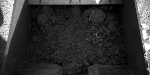 Martian dirt inside Phoenix' scoop