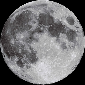 The Moon at a scale of 10 km/pixel
