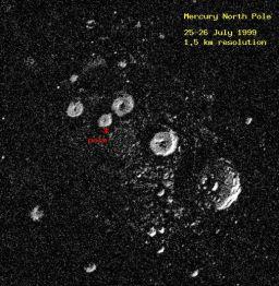 Radar image of Mercury's north pole